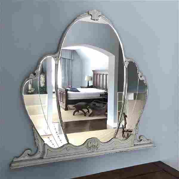 Vintage Deco Wall Mirror With Etched Design