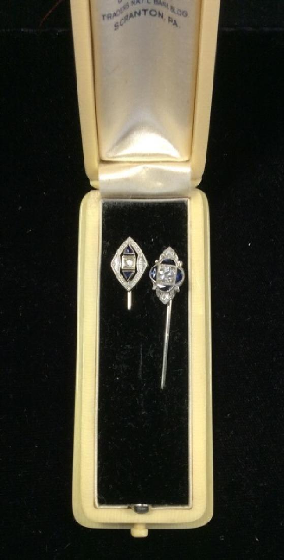 Lot 2 14k White Gold Diamond Topaz Stick Pins