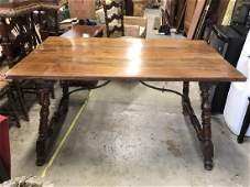 Vintage Wooden Refectory Style Table W Turned Legs