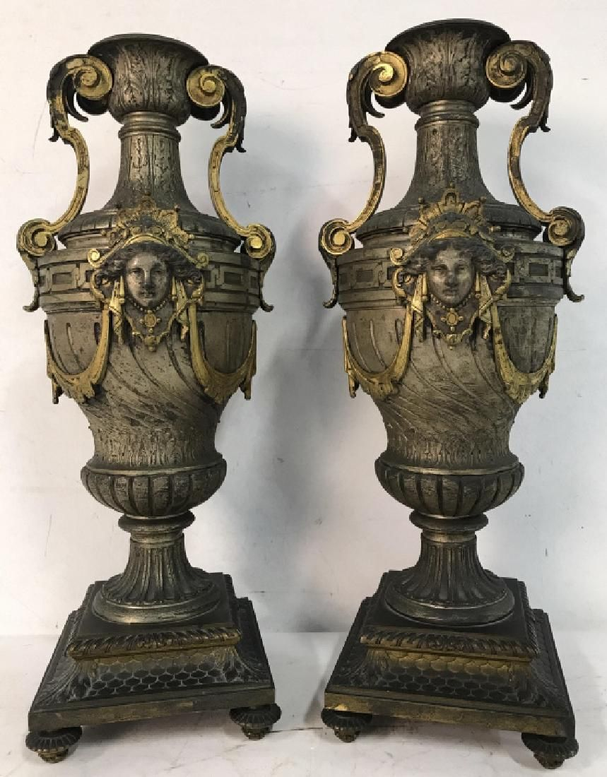 Pair Antique Art Nouveau Bronze Ormolu Urns