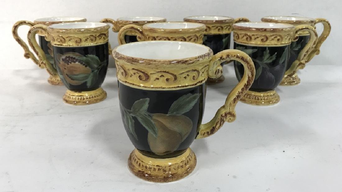 Lot 8 Painted Ceramic Coffee Mugs W Fruit Motif