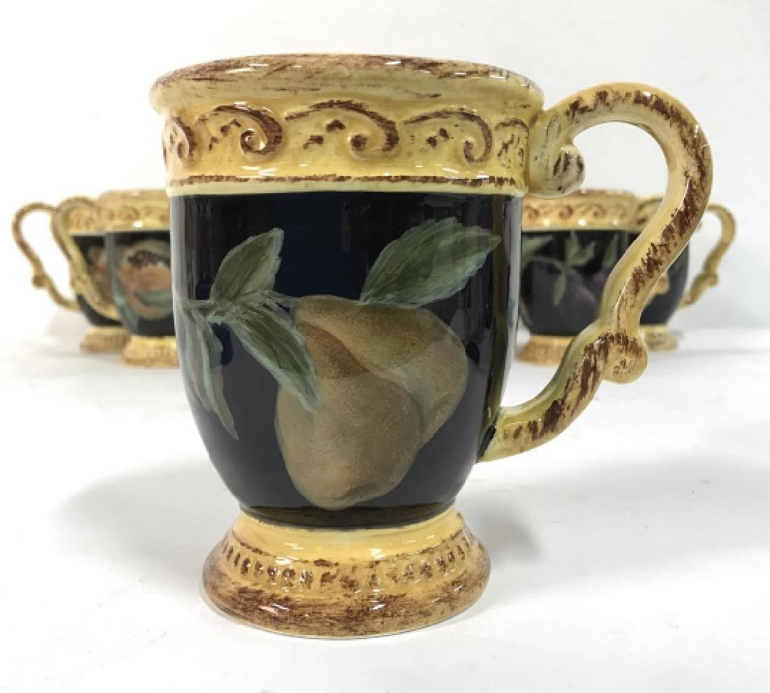 Lot 8 Painted Ceramic Coffee Mugs W Fruit Motif - 2