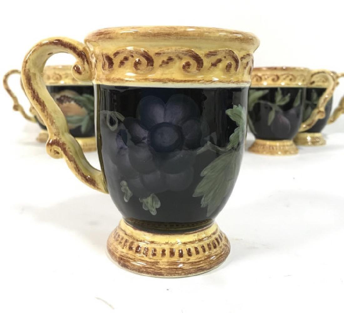 Lot 8 Painted Ceramic Coffee Mugs W Fruit Motif - 3