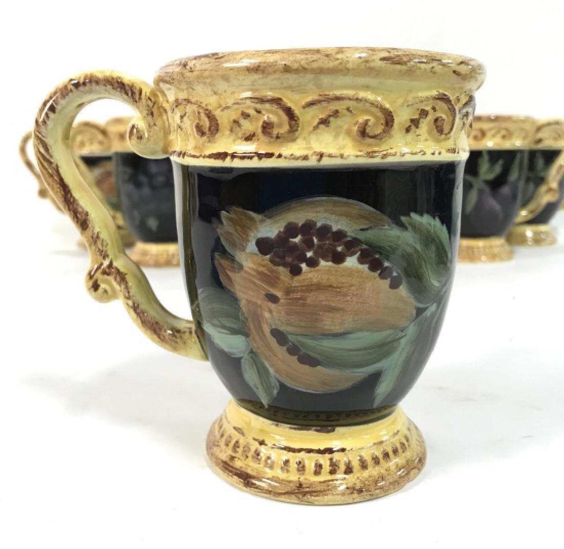 Lot 8 Painted Ceramic Coffee Mugs W Fruit Motif - 4