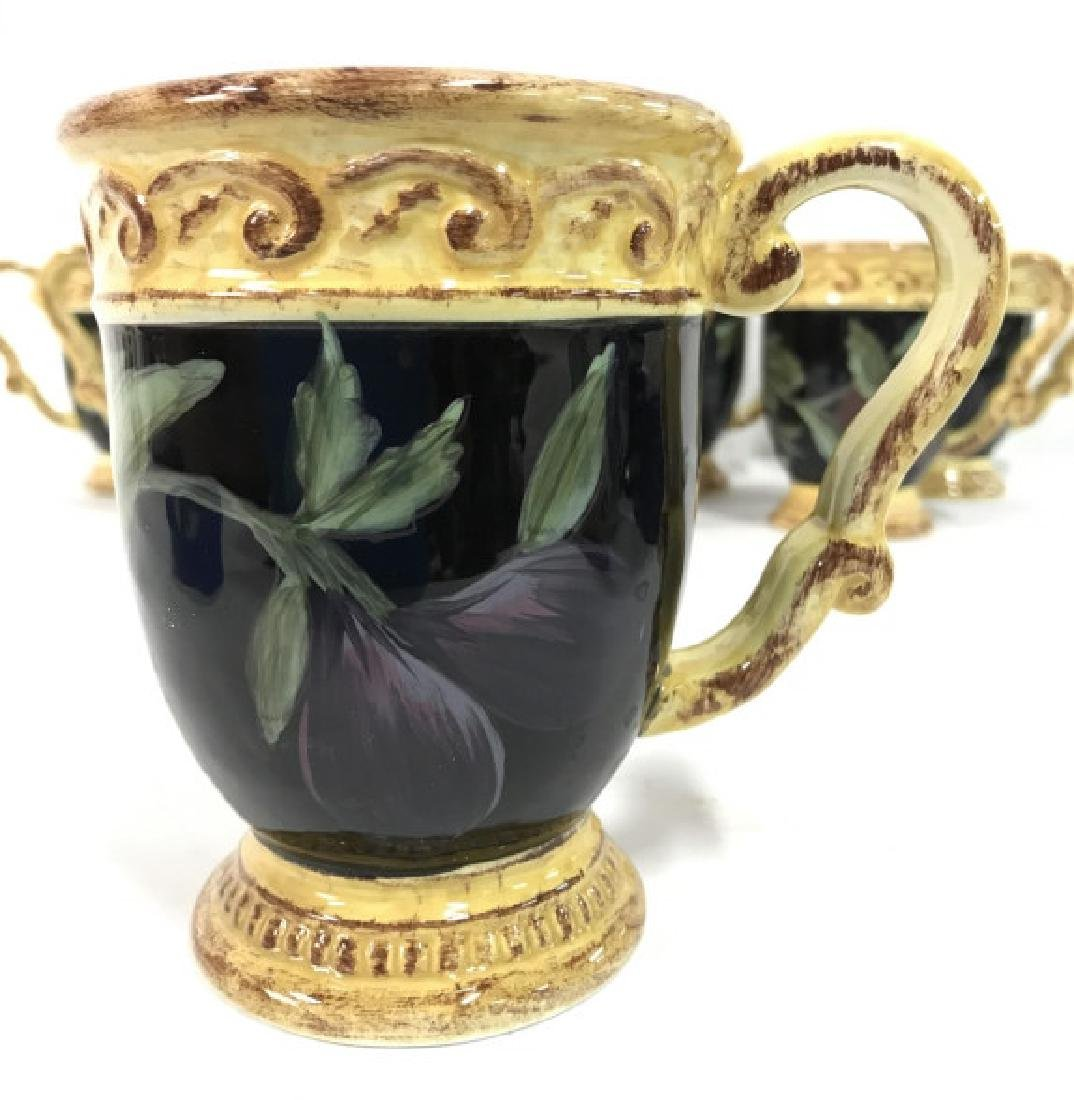 Lot 8 Painted Ceramic Coffee Mugs W Fruit Motif - 5