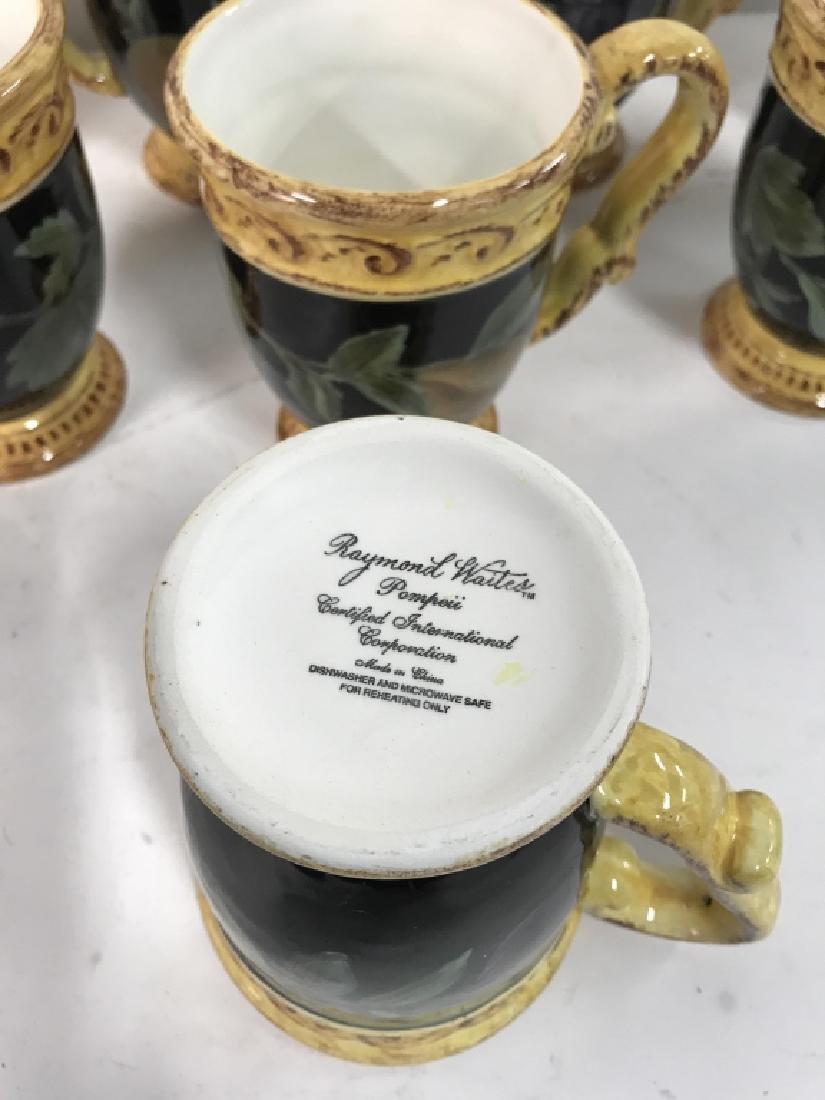Lot 8 Painted Ceramic Coffee Mugs W Fruit Motif - 6
