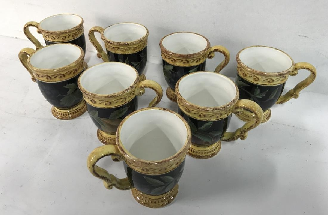 Lot 8 Painted Ceramic Coffee Mugs W Fruit Motif - 7