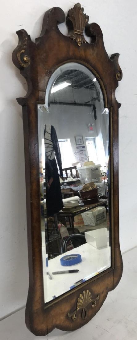 Carved Burl Wood Frame Mirror - 5