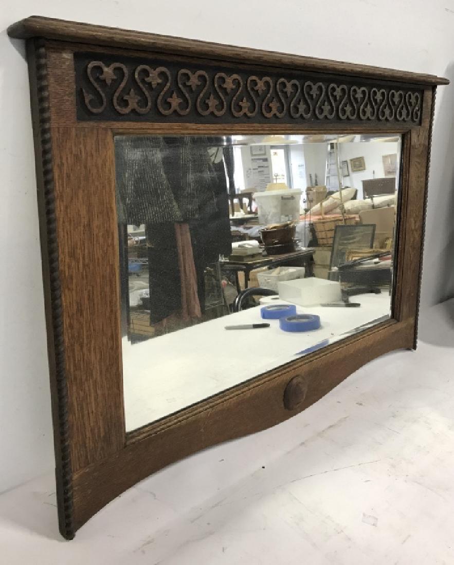 Carved Wooden Frame Mirror - 2