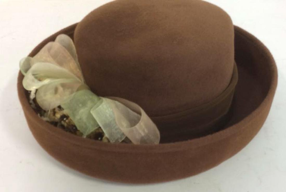 Ladies Brown Felt Hat w Gold Ribbon - 2
