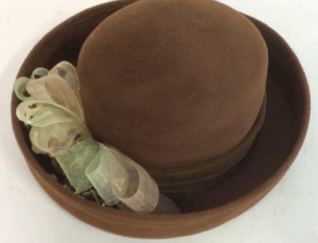 Ladies Brown Felt Hat w Gold Ribbon - 3