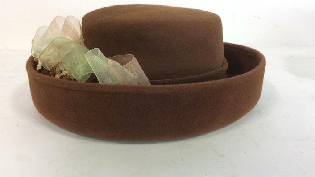 Ladies Brown Felt Hat w Gold Ribbon - 4