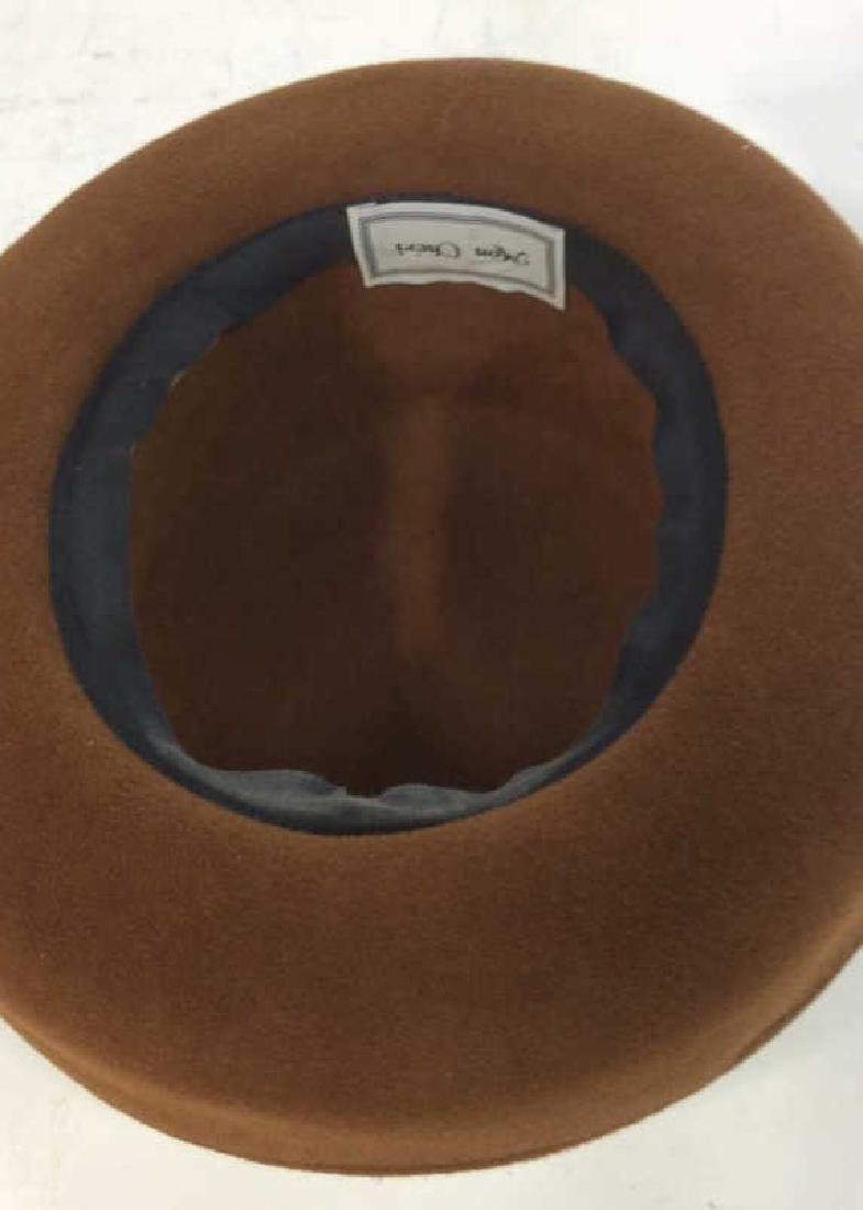 Ladies Brown Felt Hat w Gold Ribbon - 5