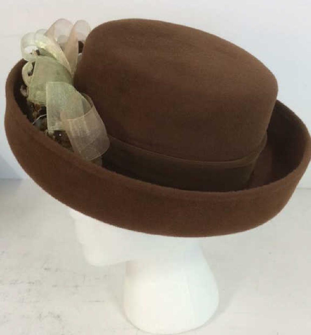 Ladies Brown Felt Hat w Gold Ribbon - 6