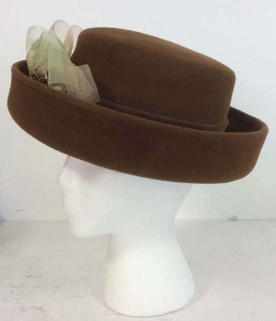 Ladies Brown Felt Hat w Gold Ribbon - 7