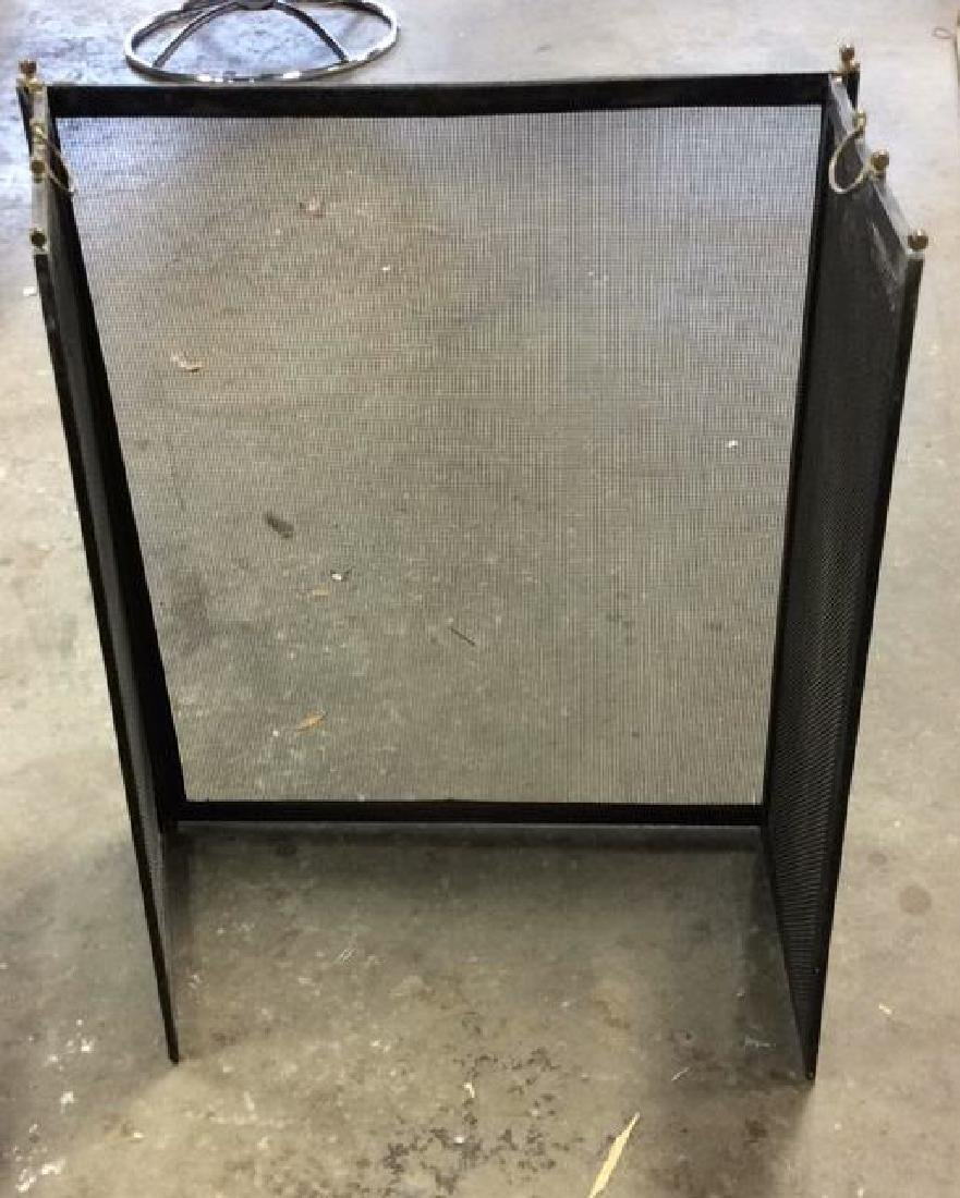 Tri Fold Fireplace Screen Brass Metal