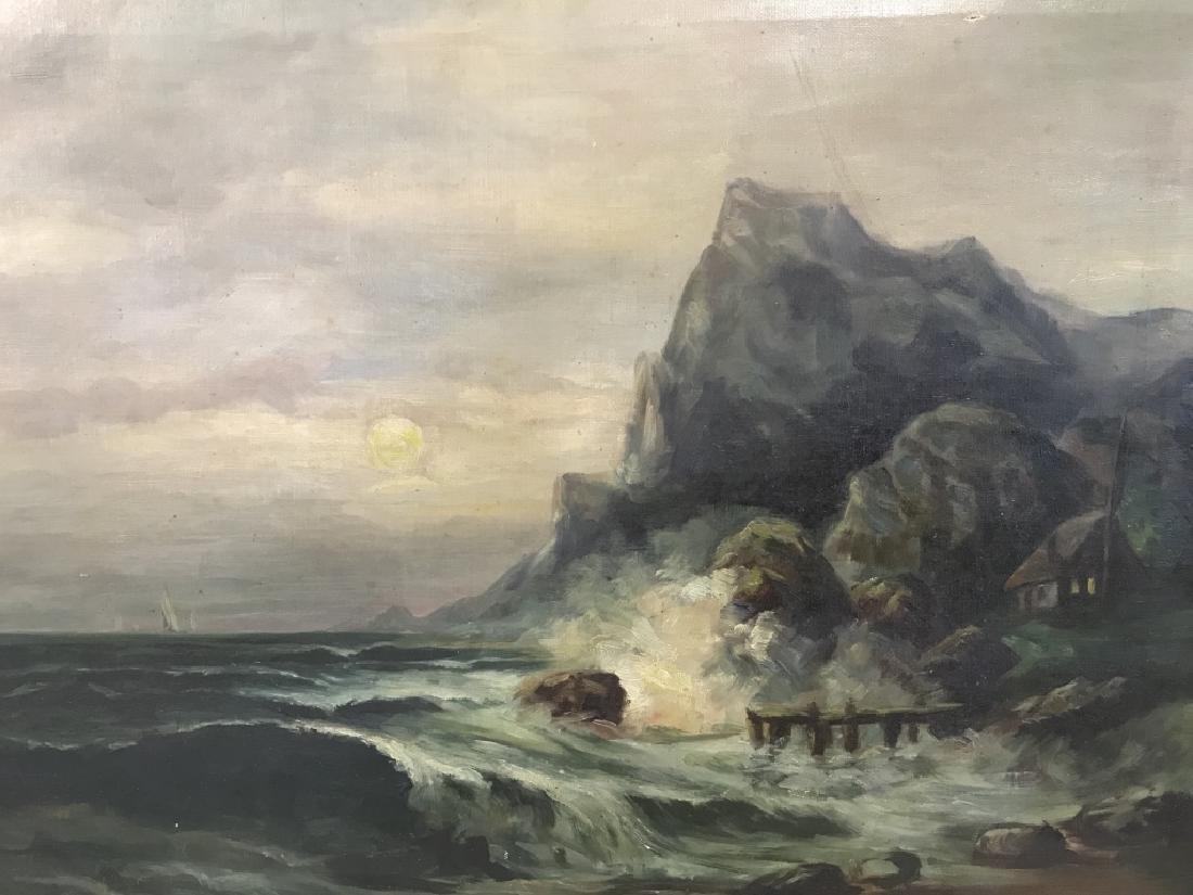 Vintage Framed Oil On Canvas Seashore Painting