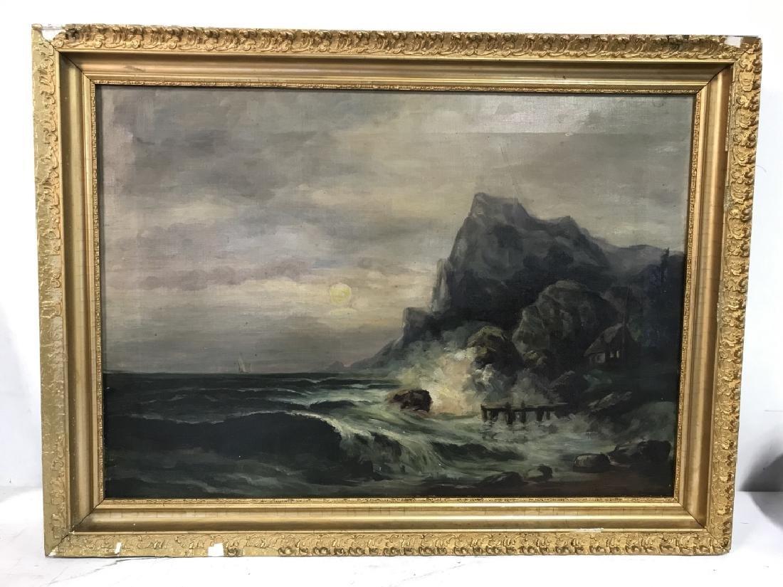 Vintage Framed Oil On Canvas Seashore Painting - 2