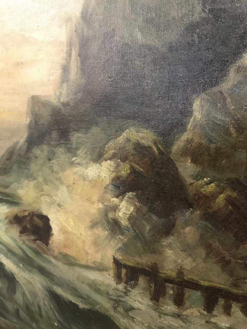 Vintage Framed Oil On Canvas Seashore Painting - 4