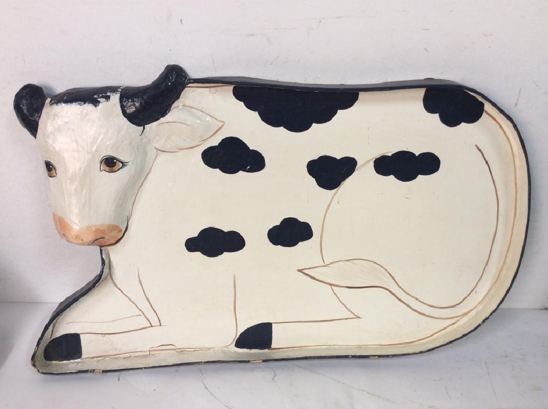 Faux Paper Mache Cow Tray