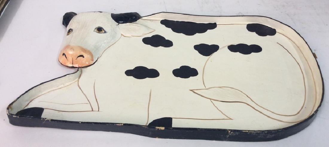 Faux Paper Mache Cow Tray - 4