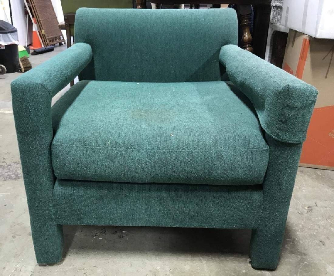 Vintage Upholstered Green Toned Armchair