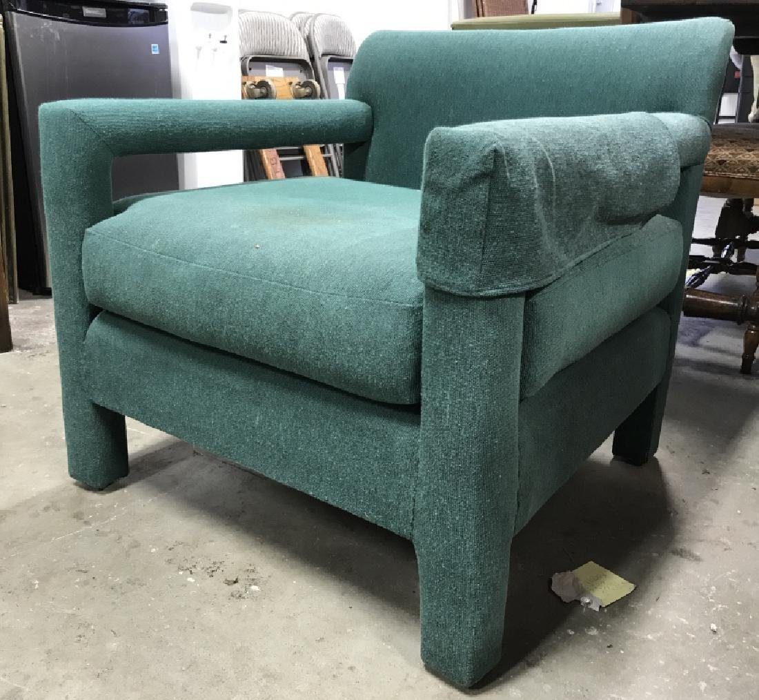 Vintage Upholstered Green Toned Armchair - 3