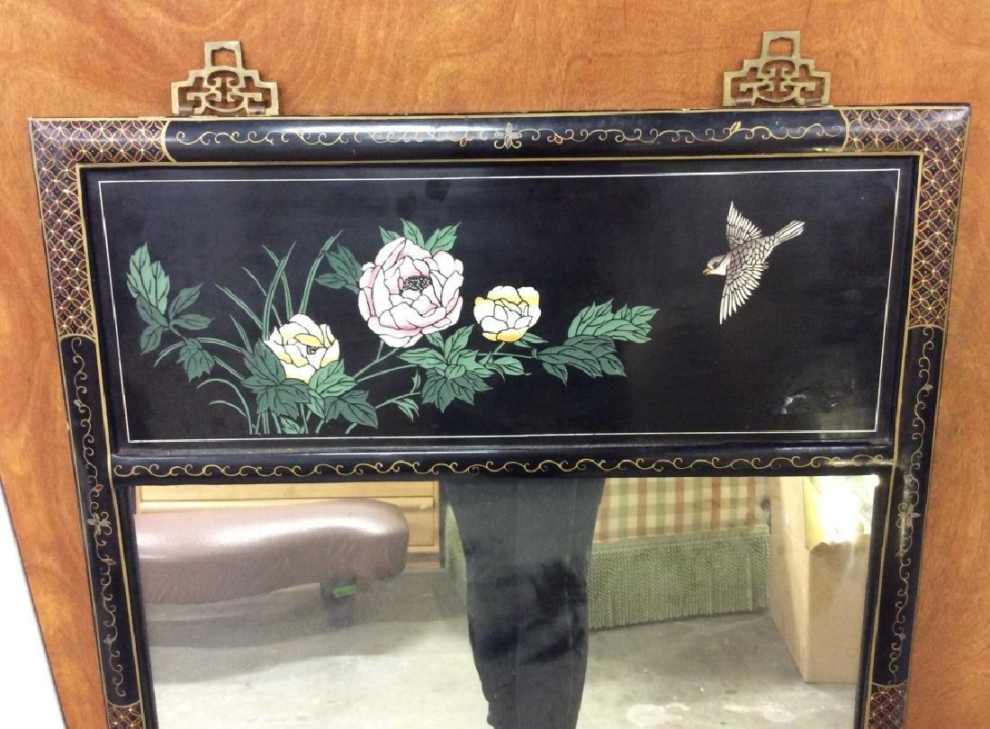 Vintage Oriental Mirror W Carved Floral Design