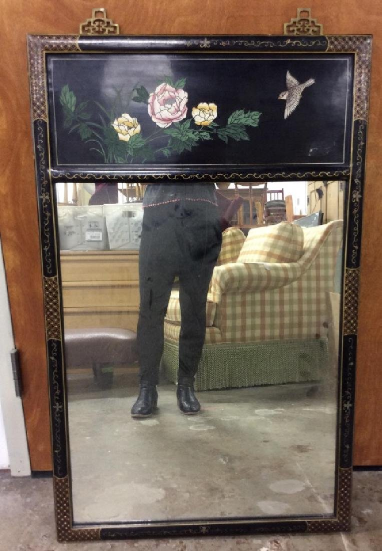 Vintage Oriental Mirror W Carved Floral Design - 2