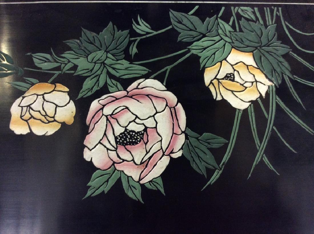 Vintage Oriental Mirror W Carved Floral Design - 3