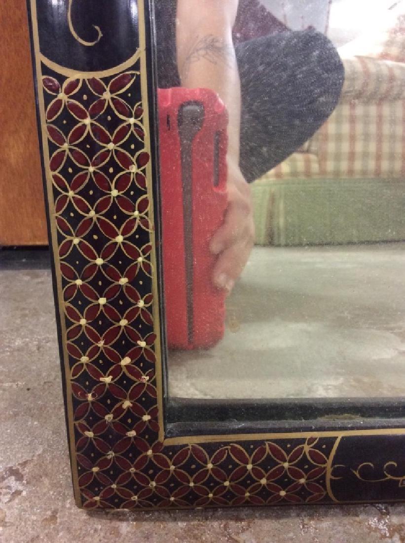 Vintage Oriental Mirror W Carved Floral Design - 7
