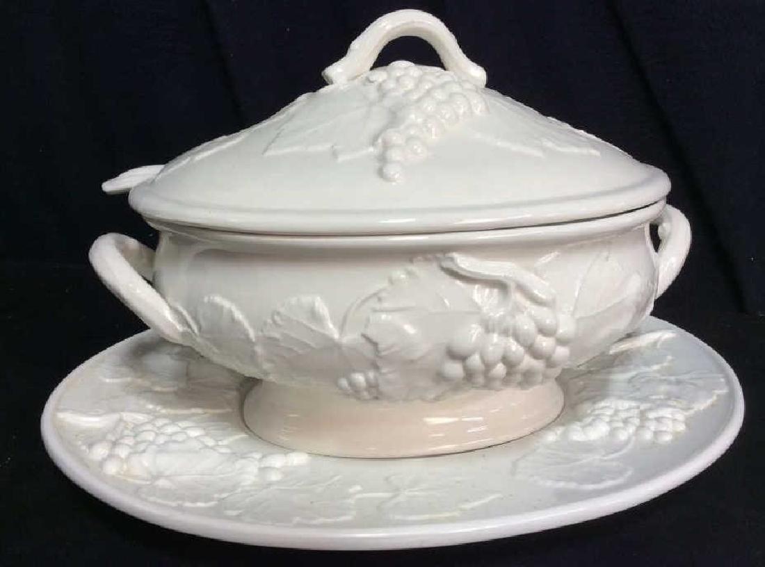 ELIOS White Ceramic Tureen w Underplate, Italy