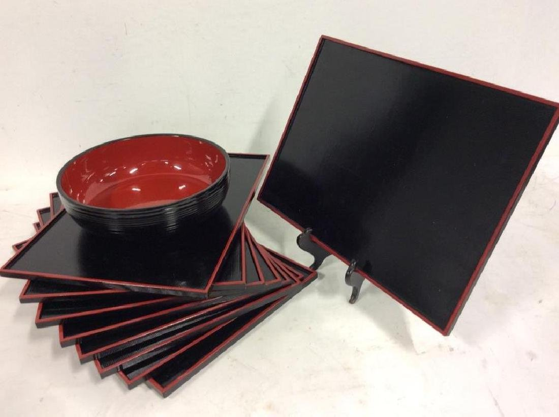 Set of 9 Black and Red Lacquer Ware Trays Bowl