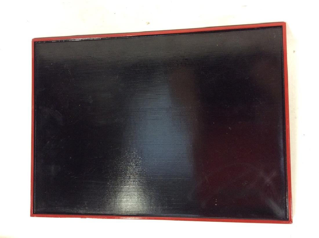 Set of 9 Black and Red Lacquer Ware Trays Bowl - 4