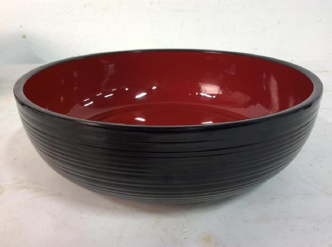 Set of 9 Black and Red Lacquer Ware Trays Bowl - 9