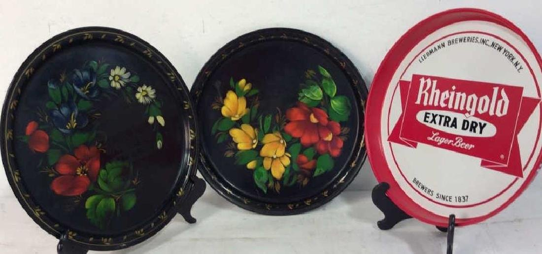 Group of 3 Decorative Metal Serving  Trays