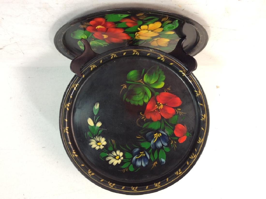 Group of 3 Decorative Metal Serving  Trays - 3