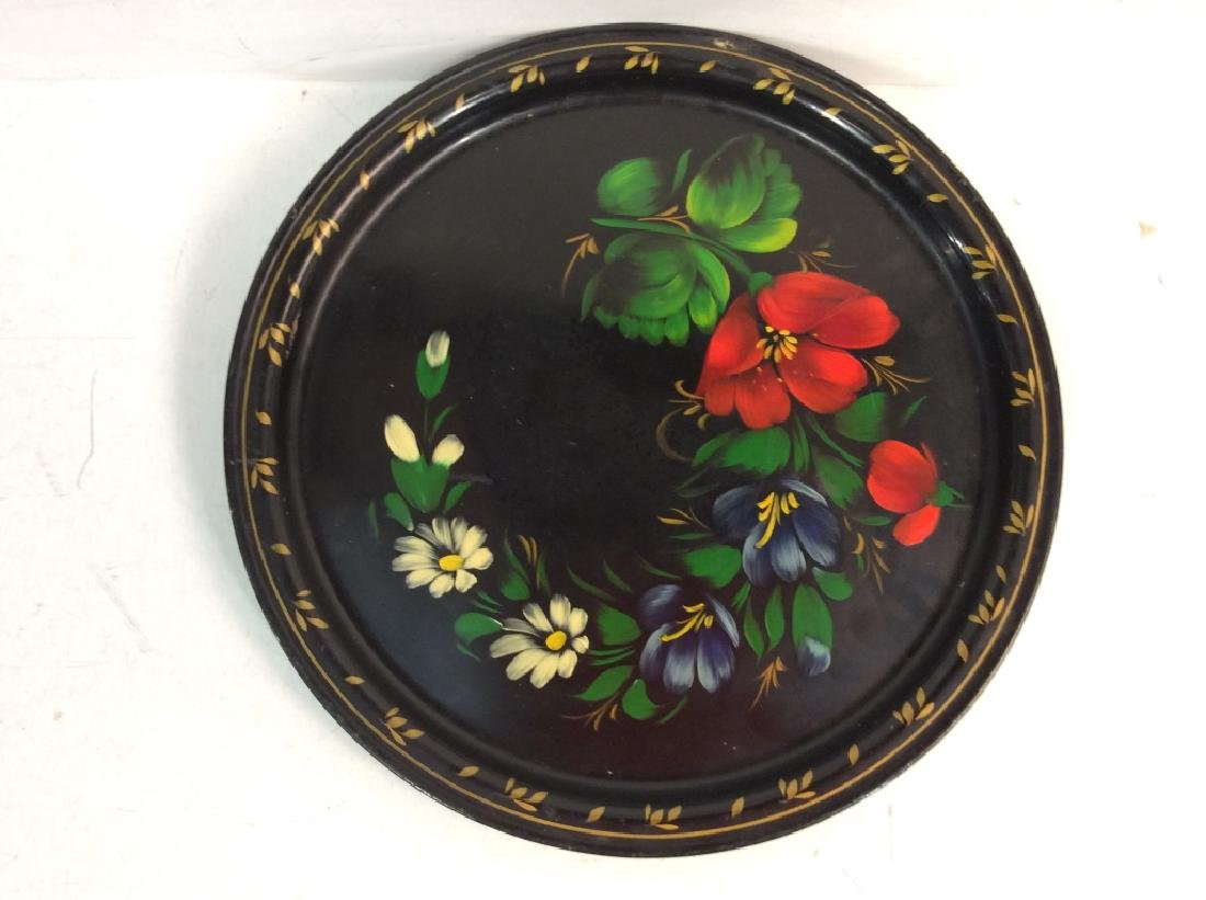Group of 3 Decorative Metal Serving  Trays - 4