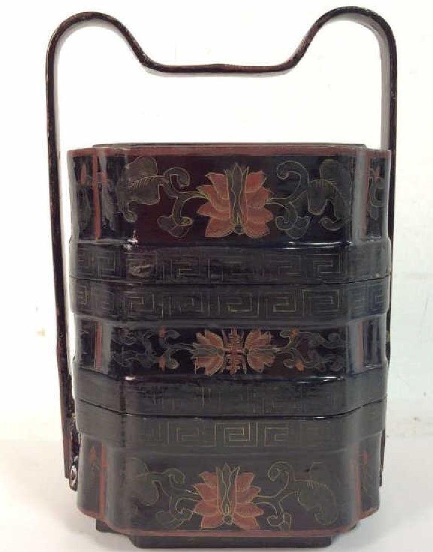 Antique Lacquered Jubako Stacking Boxes