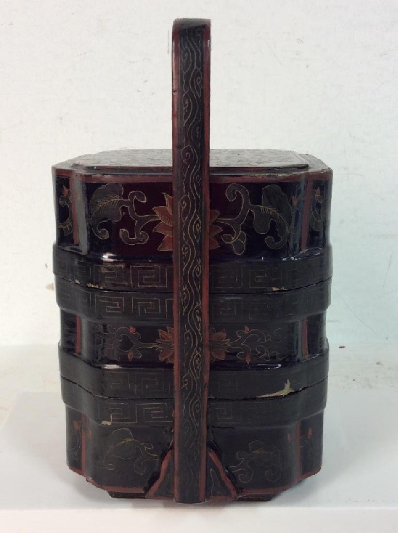 Antique Lacquered Jubako Stacking Boxes - 2