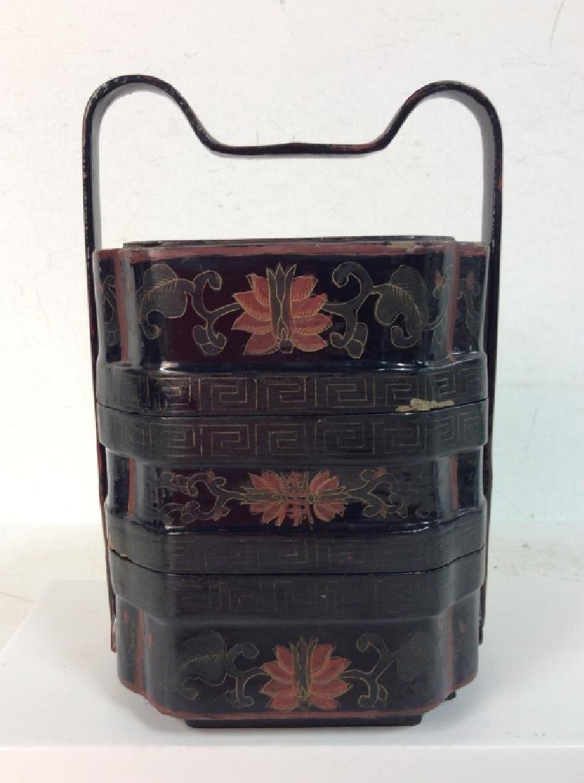 Antique Lacquered Jubako Stacking Boxes - 3