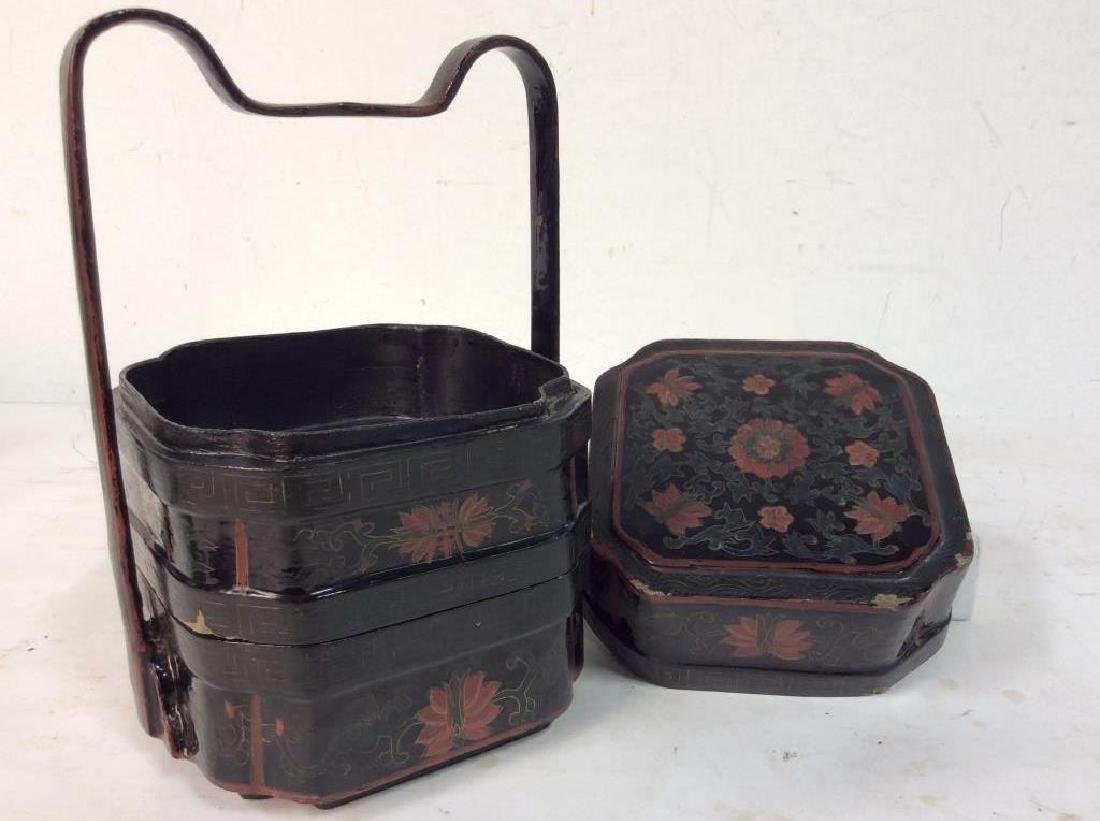 Antique Lacquered Jubako Stacking Boxes - 7