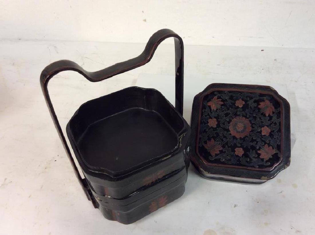 Antique Lacquered Jubako Stacking Boxes - 8