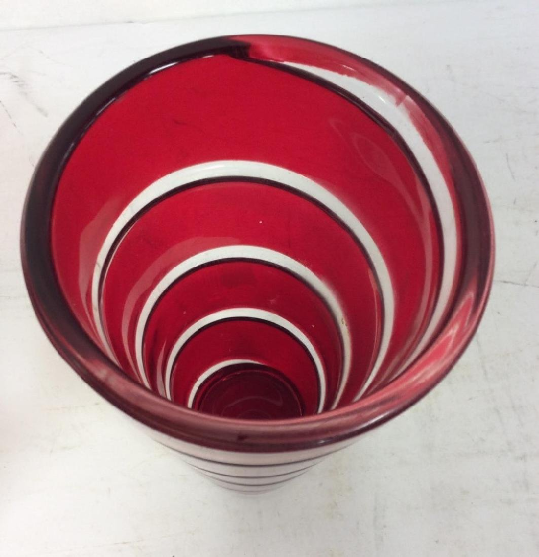Red Art Glass Swirl Vase - 2