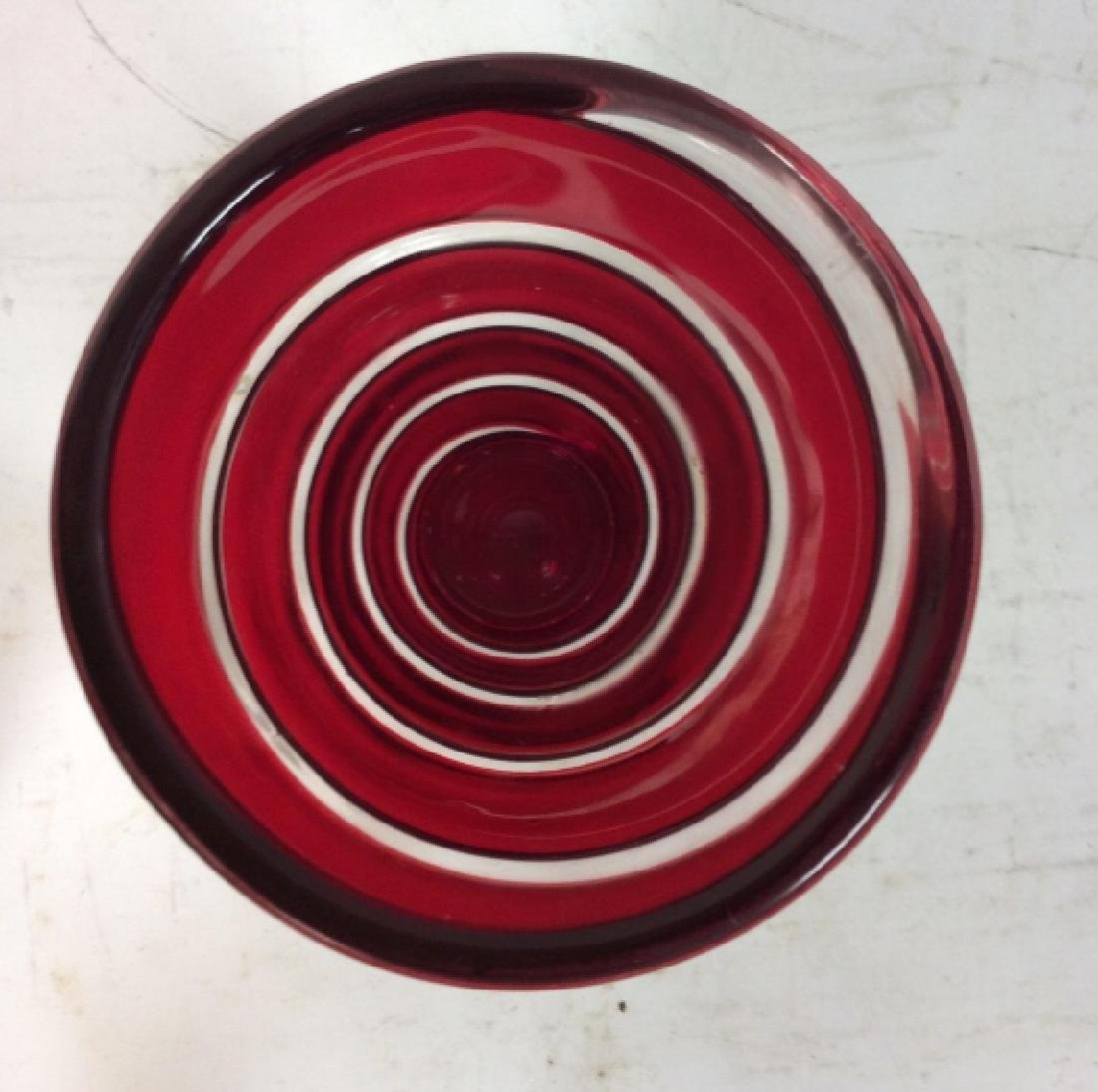 Red Art Glass Swirl Vase - 3