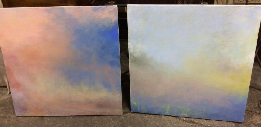 Pair Abstract Pastel Skyscape Paintings