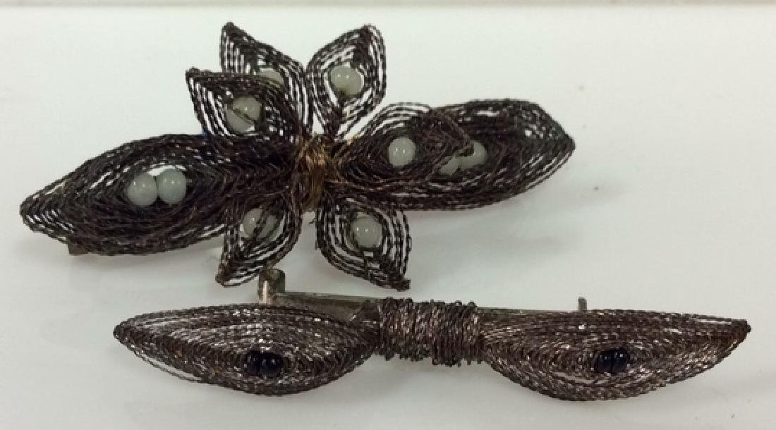 Pair Vintage Handcrafted Wire Brooch Pins