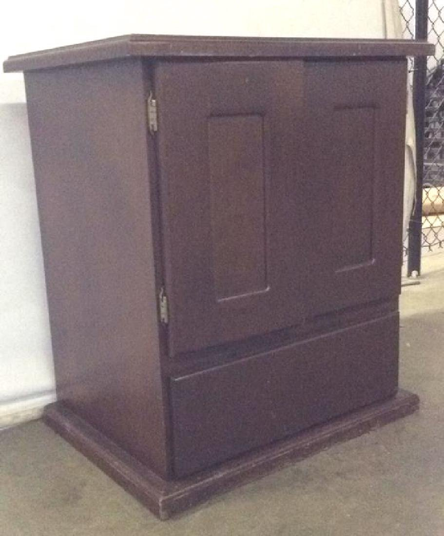 Brown Toned Wooden Chest W Drawer