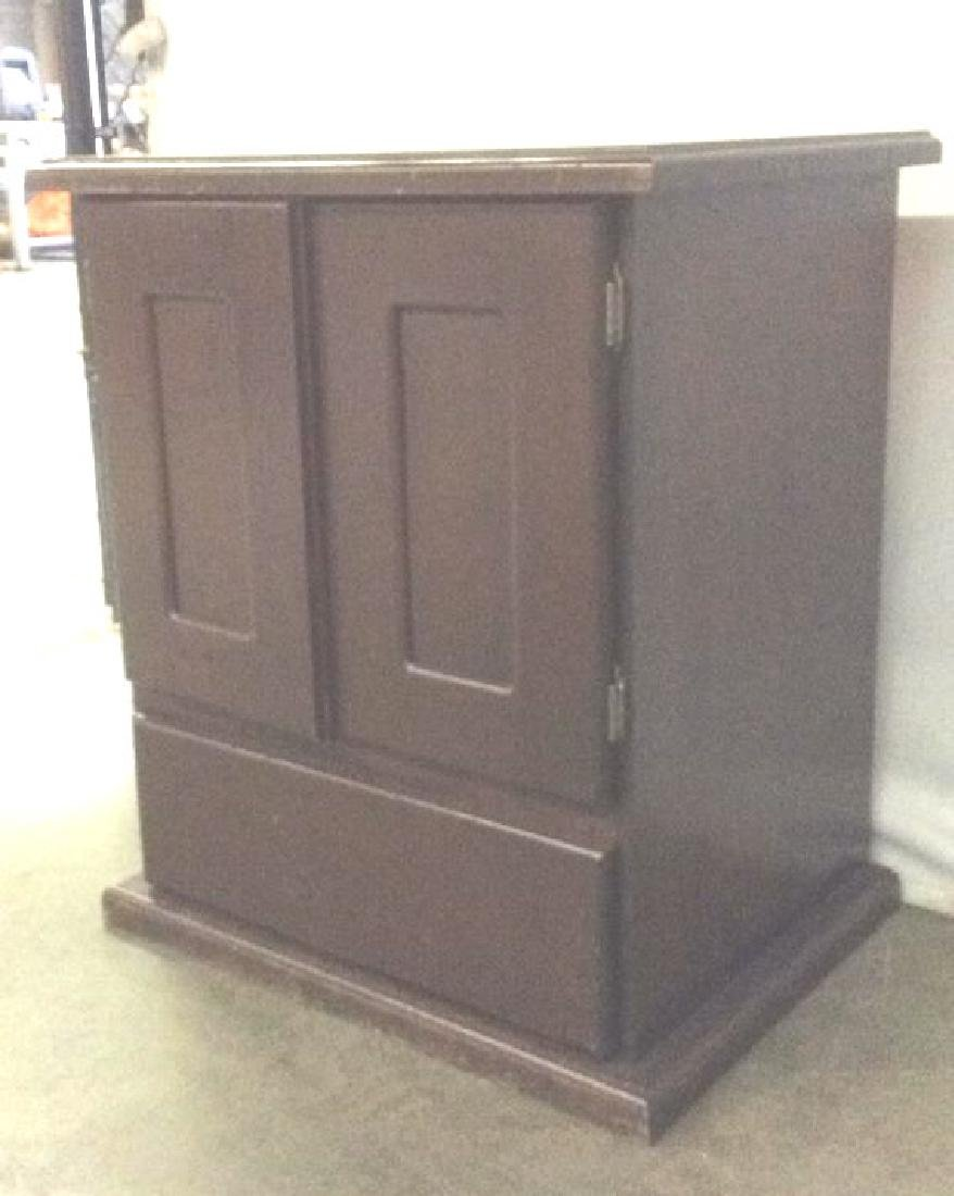Brown Toned Wooden Chest W Drawer - 3