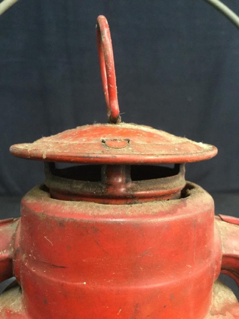 Vintage Dietz Red Metal And Glass Lantern - 10